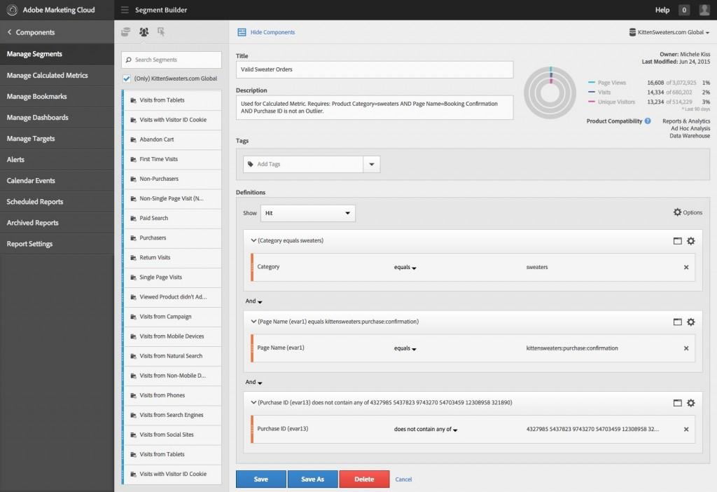 Adobe Analytics Segment Builder